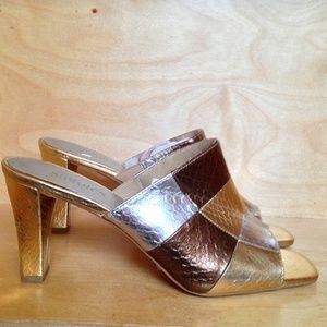 Statutes Gold, Silver & Copper Faux Croc Mules | 9